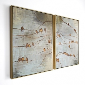 2-dílný obraz 102413, Flock Of Birds Handpainted Framed Canvas, Wall Art, Graham Brown