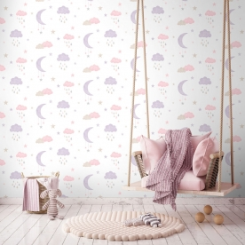 Children's non-woven wallpaper with moons and clouds LO2001, Little Ones, Grandeco
