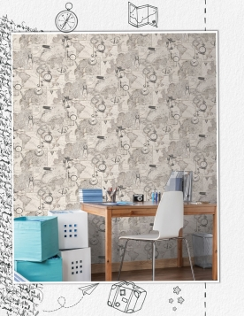 Non-woven wallpaper for wall, Historical map 8507-1, Vavex 2021