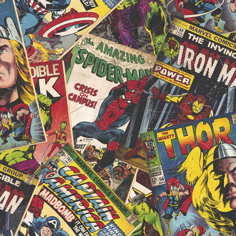 Papírová komiksová tapeta 106378, Marvel Cover Story, Kids@Home 6, Graham & Brown