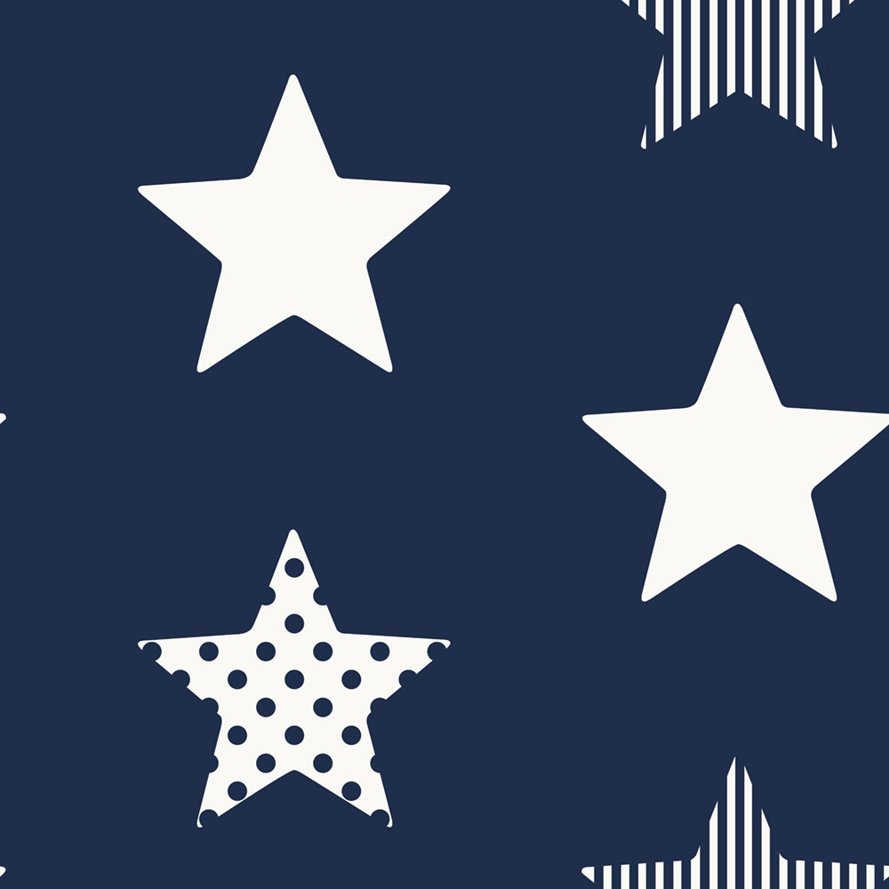 Non-woven wallpaper Stars 108265, Superstar Navy, Kids@Home 6, Graham & Brown