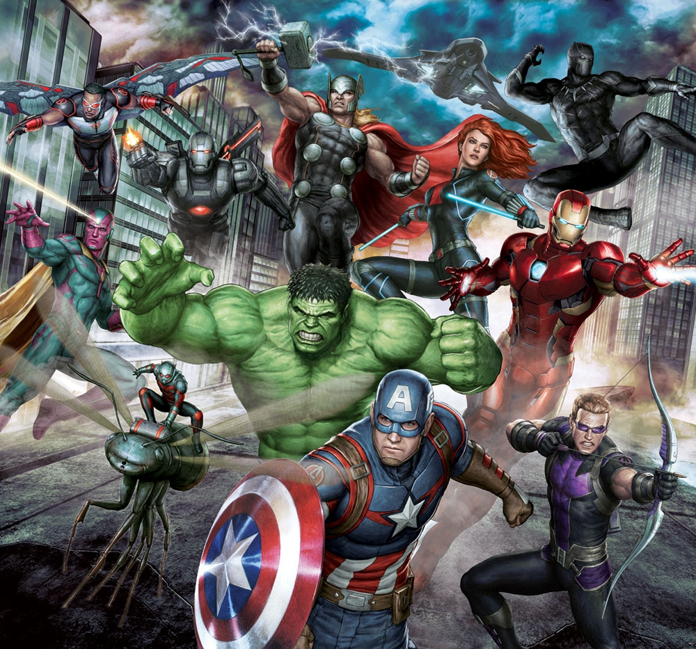 Non-woven mural wallpaper Marvel Avengers Assemble, 111391, 300 x 280 cm, Kids@Home 6, Graham & Brown